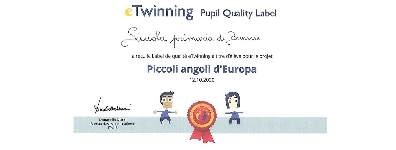 """Label nazionale eTwinning ottenuto per il progetto """"Piccoli angoli d'Europa"""""""